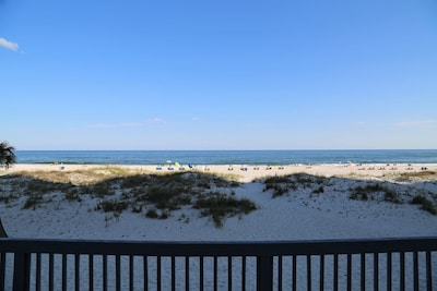 Beach front views from the spacious first floor balcony.