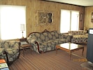 lots of seating options in our large living room. 