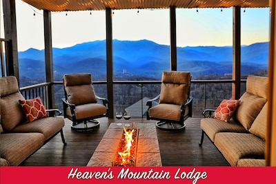 Enjoy each others company around a fire pit admiring Mt. Leconte