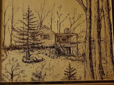 Pencil drawing of my cabin, a gift from an international guest