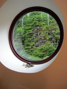 Port hole at top of stairs looking out to forest across the street