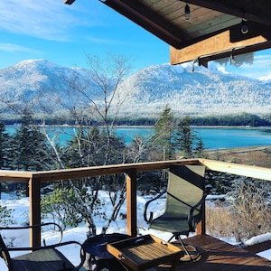 winter view of hot tub from the pavilion