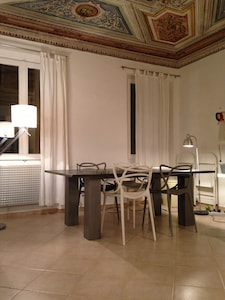 stone dining table in living room