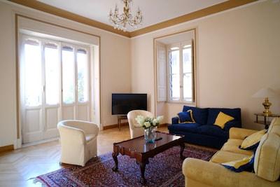 big living room with smart tv and wifi