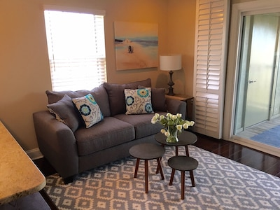 family room with full size sofa bed