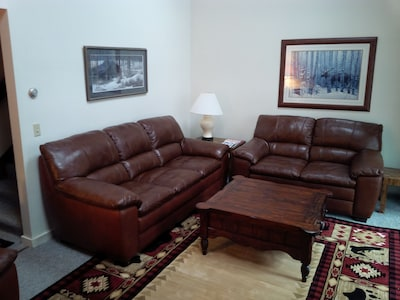 Living room has all-new leather seating and a beautiful area rug