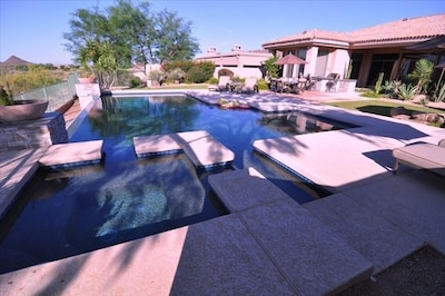 Hot Tub next to Pool - Safety steps enter pool's shallow area  /  8' + deep end.