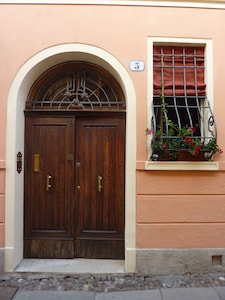 The front door of the house