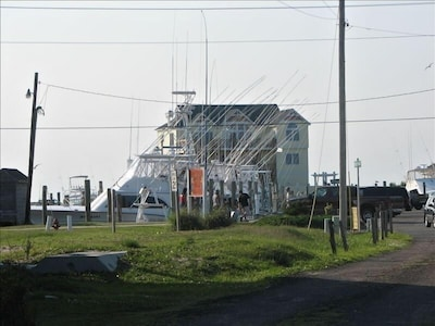 A view from the driveway; overlooking the Hatteras Harbor Marina