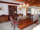 Large dining table easily seats 10 or even 12!