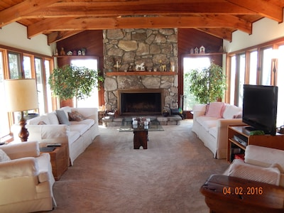 Enjoy the views and the stone fireplace