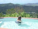 View the mountains and the sea while swimming in the pool!