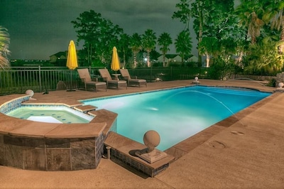 Lighted pool for nighttime fun.