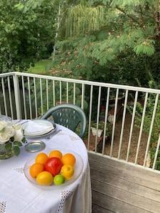 Balcon et vue sur parc