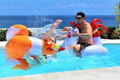 Chicken fight in the pool