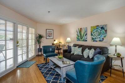 A Comfortable Living Space with Pops of Blue