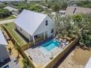 arial of backyard and pool