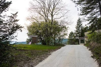 Vue sur le chemin d'entrée, avec la cabane pour les enfants