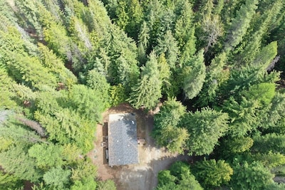 Aerial view of the house in the woods.