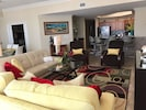 Spacious Living Room with Queen Sleeper Sofa and 2 Recliners.
