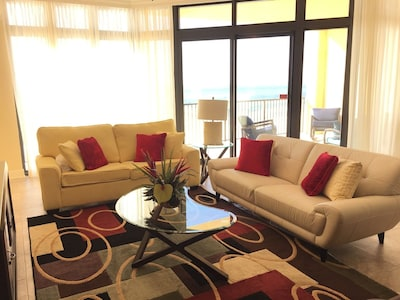 Spacious Living Room opening to Gulf Front Balcony with Queen Sleeper Sofa