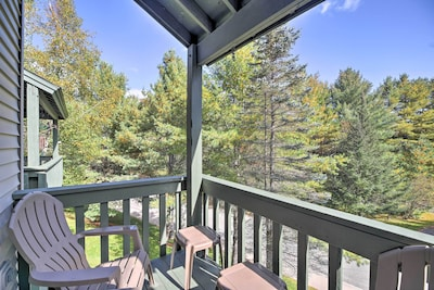 Soak in your peaceful forest surroundings from the private balcony.