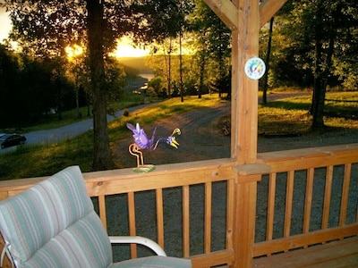 Sunrise view of Norfork lake from the deck of the Ozark Retreat