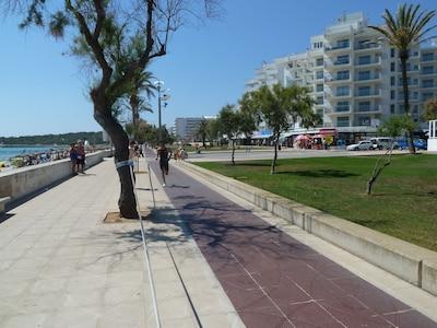 Aussenansicht von der Promenade mit Gehweg und Radspur