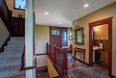 Entrance.  1/2 bath on right