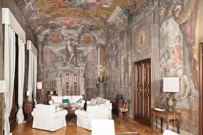 The living area, with frescos from the 17th Century