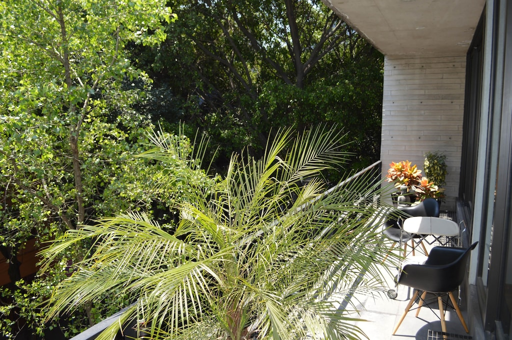 VRBO Mexico City: Two chairs on a balcony overlooking trees beneath