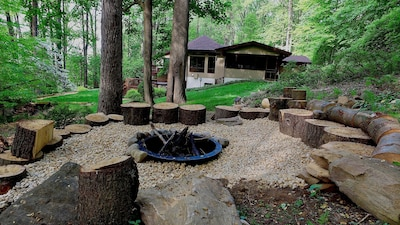 An amazing fire pit for S'mores, hot dogs...or simply relax & share stories