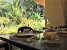 Breakfast surrounded by rainforest