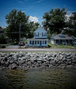 Looking at the house from the river..if you look close you can see the mermaid!