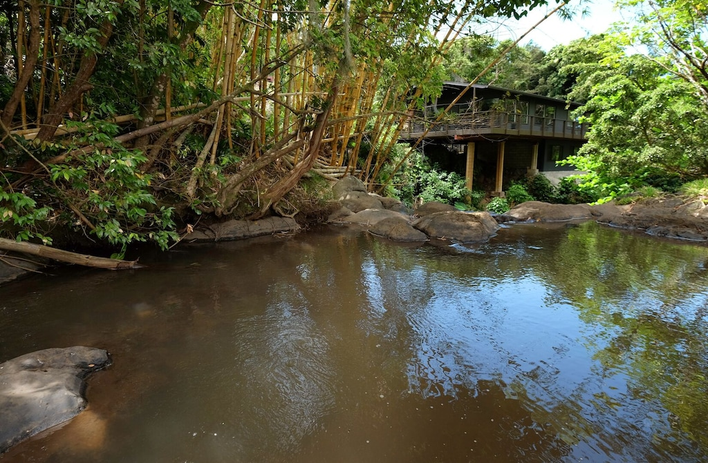 Waterfall pool at the foot of a modern Airbnb in Hawaii