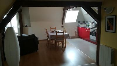 Vue sur la pièce principale : salon / séjour / coin cuisine