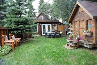 Backyard - Weber Grill, Outdoor Table, Swing Set, Fire Pit