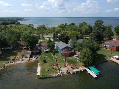 Arial view of cottage from the Lake
