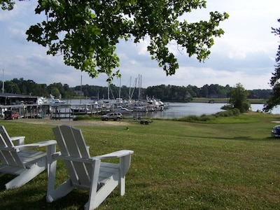 View of marina from back porch of farmhouse