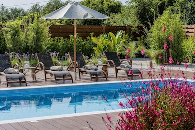 Pool with sunloungers and umbrella
