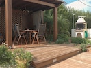 Gazebo with dining table and bbq