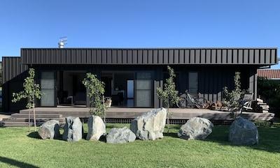 Black01 exterior front is metal clad with translucent glass windows/doors.