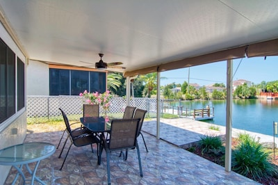 Enjoy the Serenity of our back porch that overlooks the canal