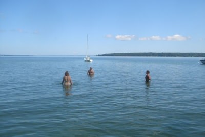 beautiful swimming in shallow waters six feet deep at the sailboat then drop off
