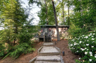 Lake Lure cabin with a mountain view from your romantic hot tub for two.