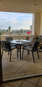 Patio dining on open living area