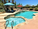 Beautiful mountain views from the pool and jacuzzi at Villa Falls.