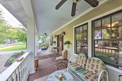 The lovely front porch invites you into this 3-bedroom, 3-bath vacation rental.