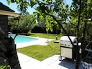 Gas Barbecue next to pool and pool house