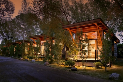 The Cabin is located on a rustic property, part of a tiny house resort community